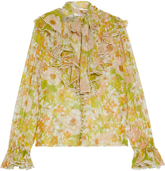 Zimmermann Super Eight Pussy-bow Ruffled Floral-print Silk-chiffon Blouse