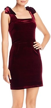 Aqua Velvet Bow Detail Mini Dress - 100% Exclusive