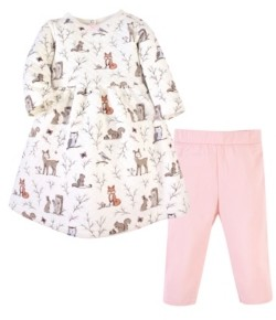 Hudson Baby Toddler Girl Quilted Cotton Dress and Leggings Set
