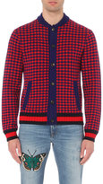 Gucci Houndstooth Wool And Cashmere Cardigan