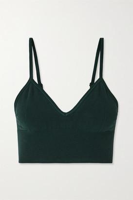 Alo Yoga Delight Stretch Cotton-blend Sports Bra - Dark green