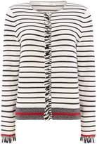 Oui Ruffle front stripe cardigan