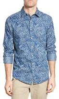 Gant Men's Indigo Leaf Print Fitted Sport Shirt
