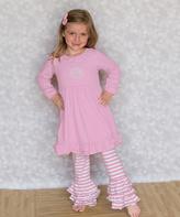 Princess Linens Pink Monogram Dress & Ruffle Pants - Infant Toddler & Girls