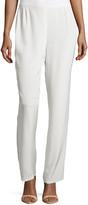 Caroline Rose Silk Crepe Straight-Leg Pants, White