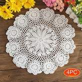 Elesa Miracle 16 Inch 4pc Handmade Round Flower Crochet Cotton Lace Table Placemats Value Pack, Rosary, Beige / White (4pc-16 Inch White)