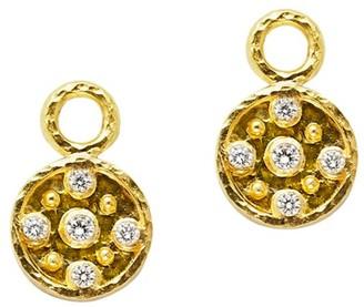 Elizabeth Locke 19K Yellow Gold & Diamond Disk Drop Earrings
