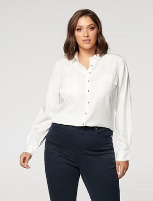 Forever New Brodie Curve Long Sleeve Shirt - Porcelain - 16