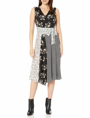 Calvin Klein Women's V-Neck Dress with TIE Belt