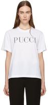 Emilio Pucci White Rhinestone Logo T-Shirt