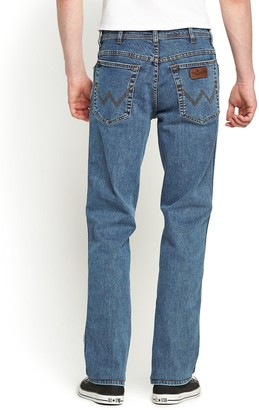 Wrangler Mens Texas Stretch Straight Jeans - Stonewash