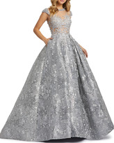 Mac Duggal 6-Week Shipping Lead Time Floral Embroidered & Pearly Bead Trim Illusion Ball Gown