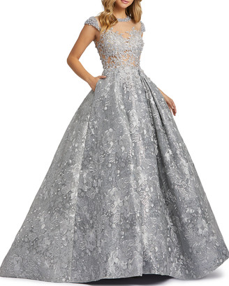 Mac Duggal Floral Embroidered & Pearly Bead Trim Illusion Ball Gown