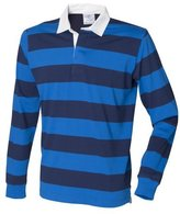 Front Row Mens Striped Sports Rugby Polo Shirt (XXL)