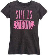 Instant Message Women's Women's Tee Shirts HEATHER - Heather Charcoal 'She Is Strong' Relaxed-Fit Tee - Women