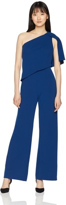 Adrianna Papell Women's Draped Cape Sleeve Knit Crepe Wide Leg Jumpsuit