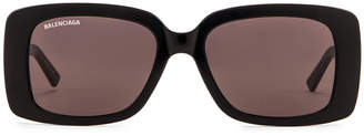 Balenciaga Acetate Rectangular Sunglasses in Shiny Black & Grey | FWRD