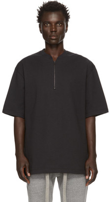 Fear Of God Black Half-Zip Henley T-Shirt