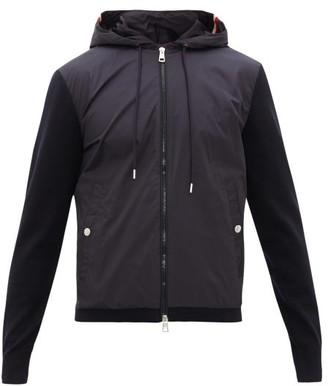 Moncler Nylon-panel Zip-through Hooded Cotton Sweatshirt - Navy