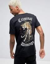 Criminal Damage T-shirt With Tiger Back Print