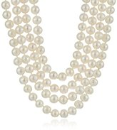 "Bella Pearl White 100"" Pearl Endless Strand Necklace, 80"""