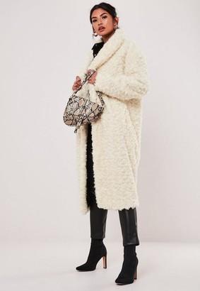 Missguided Tall Cream Borg Teddy Curly Shawl Collar Coat