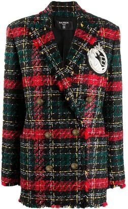 Balmain Tartan Check Oversized Blazer