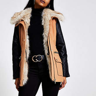 River Island Petite brown faux leather sleeve jacket