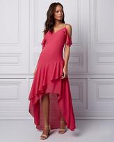 Le Château Chiffon Cold Shoulder Ruffle Dress