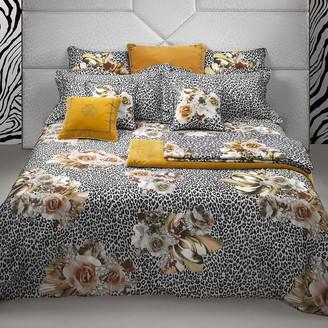 Roberto Cavalli Bouquet Leopard Bed Set - Gold - King