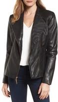 Ellen Tracy Women's Asymmetrical Zip Leather Jacket