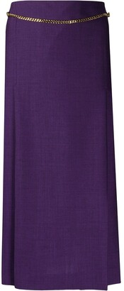 Victoria Beckham Chain-Detail Pleated Midi Skirt