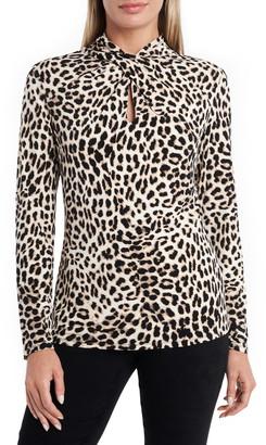Vince Camuto Leopard Print Twist Neck Top