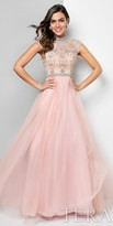 Terani Couture A-Line Cap Sleeve Beaded Tulle Prom Dress