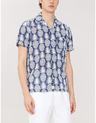 FAR AFIELD Pineapple-print regular-fit linen shirt