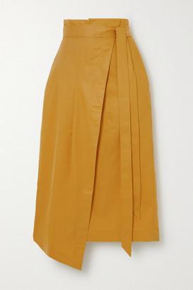 KING & TUCKFIELD Asymmetric Lyocell, Linen And Cotton-blend Wrap Skirt - Yellow