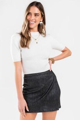 francesca's Lara Herringbone Mini Skirt - Black