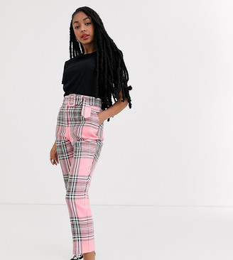 Asos DESIGN Petite high waist cigarette pants with belt in pink check-Multi