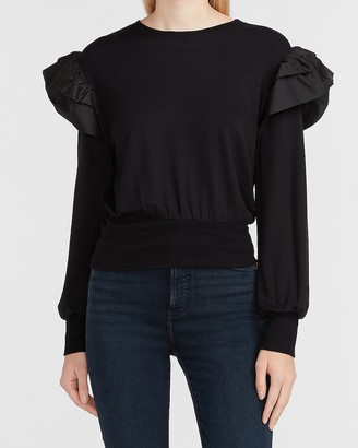 Express Tiered Ruffle Sleeve Sweatshirt