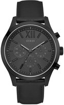 GUESS Men's Chronograph Elevation Black Leather Strap Watch 46mm U0789G4