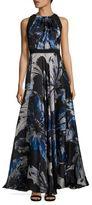 Carmen Marc Valvo Floral Silk Organza Gown