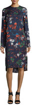 Cédric Charlier Long-Sleeve Floral-Print Dress, Fantasia Blue