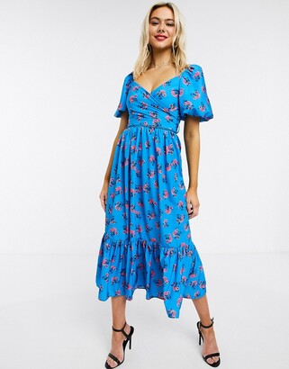 John Zack exclusive puff sleeve wrap midi dress with ruffle hem in blue floral