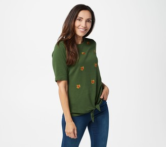 Quacker Factory Fall All-Over Embroidered Elbow Sleeve Tie Front Top