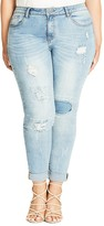City Chic Sky Patch Skinny Jeans