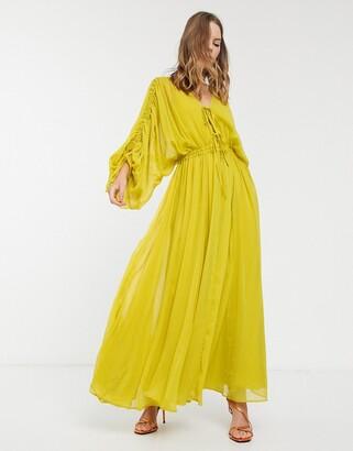 Asos Design DESIGN Eivissa soft tiered maxi dress with drawstring waist and sleeves-Yellow