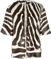 Giambattista Valli Reversible zebra-print goat hair coat