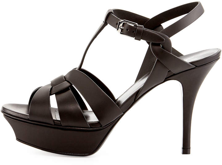 Saint Laurent Tribute Leather 75mm Sandal, Black