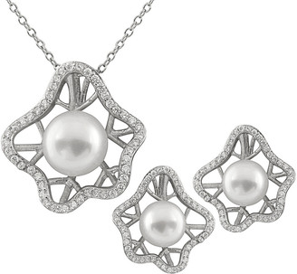 Splendid Pearls Rhodium Plated 9-10Mm Pearl & Cz Necklace & Earrings Set