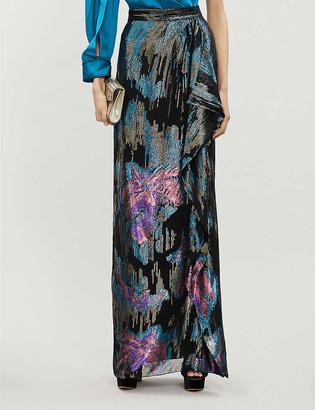 Peter Pilotto Metallic floral-print high-waisted lam? maxi skirt